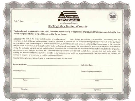 Roofing Labor Warranty Template Roof Repair Roof Repair Warranty
