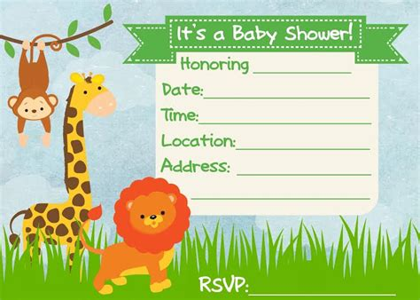 jungle invitation template jungle baby shower invitations templates quotes