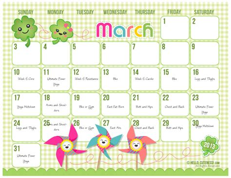 7 best images of free cute printable calendar templates