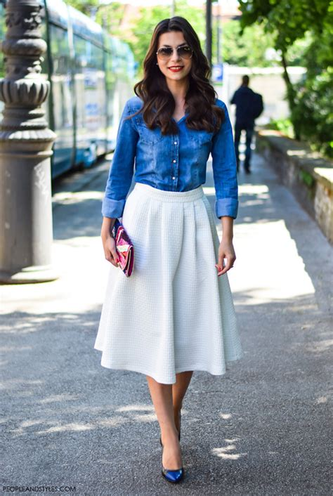 how to wear white midi skirt styles