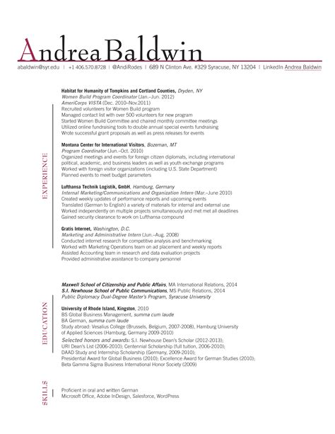 Resume Cv Name Resume Project Andrea Baldwin Gra617