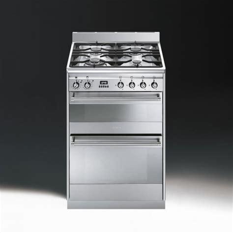 Oven Gas Ukuran 60 Cm smeg concert suk62mx8 dual fuel 60cm oven cooker stainless steel with chrome trim