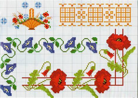 fiori da ricamare altre bordure da ricamare con fiori papaveri magiedifilo