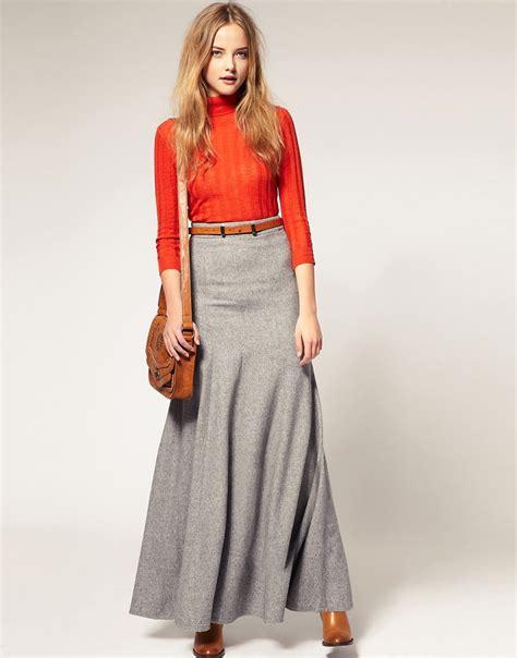 asos asos maxi skirt in wool mix at asos