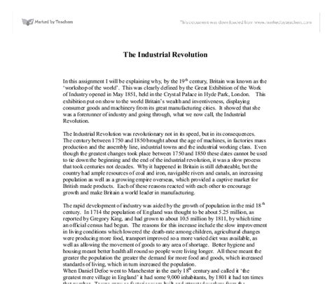 The Industrial Revolution Essay by Persuasive Essay Industrial Revolution