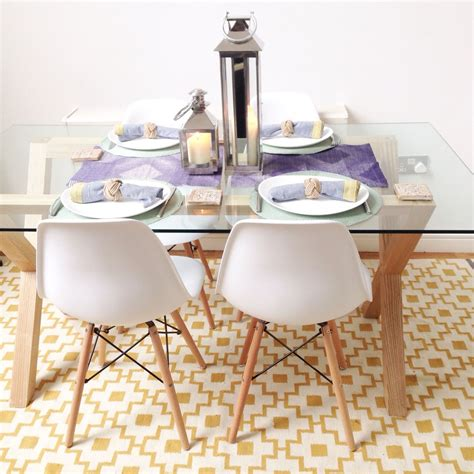Glass Dining Table White Chairs Scandinavian Style Dining Area Lewis Oak And Glass Dining Table White Eames Chairs The