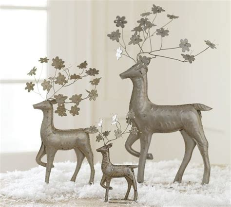 pressed tin floral reindeer modern holiday accents and