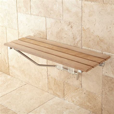folding teak bench 36 quot folding teak shower seat bathroom