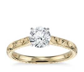 engagement ring engraving engraved solitaire engagement ring in 18k yellow gold blue nile