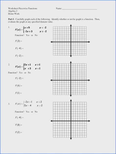 worksheet piecewise functions algebra  answers