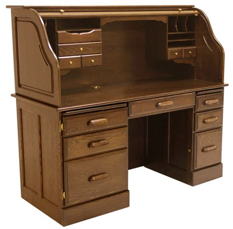 60 quot w solid oak rolltop computer desk in briar finish in