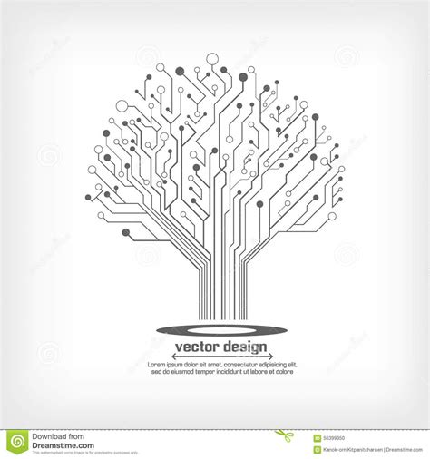 Electronic Tree - vector circuit board electronic tree stock vector image