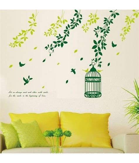 Tree Bird Cage 60x90 Stickerskart Wall Stickers Wall Decals Corner Green Floral