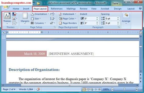 layout of microsoft word microsoft office word 2007 learn the page layout tab in ms
