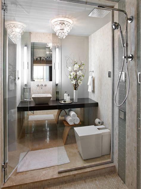 luxury small bathroom  crystal chandelier