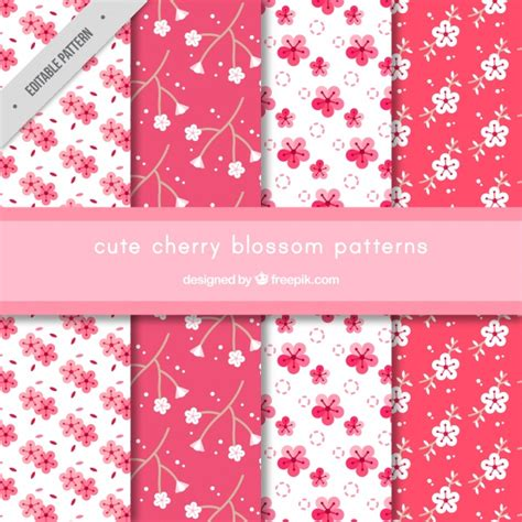 sakura pattern ai patterns of cherry blossoms set vector free download