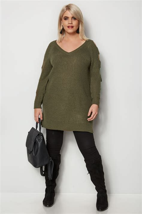 Napoclean Strong By Nry Fashion khaki chunky knit longline jumper with cut out sleeves