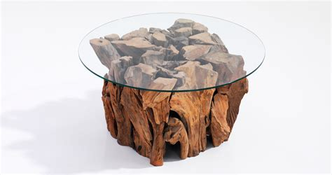 root coffee table  glass top dubai organic designer