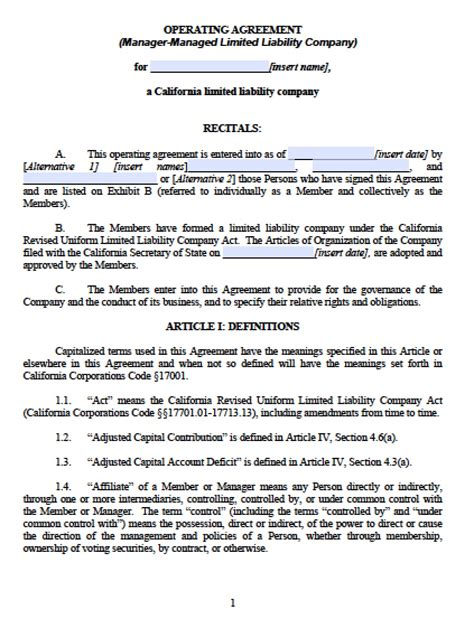 California Multi Member Llc Operating Agreement Free Llc Operating Agreements Free Llc California Llc Operating Agreement Template