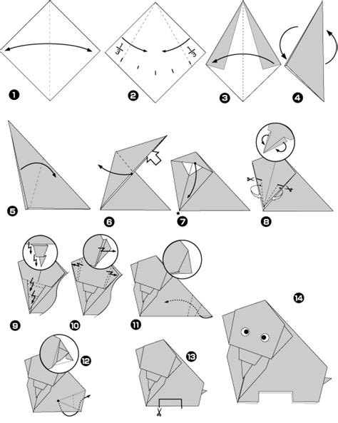 origami elephant step by step lessons for step by step construction of paper