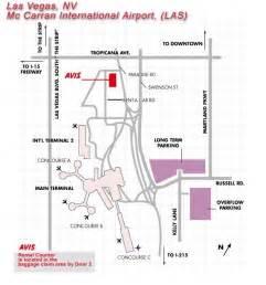 Las Vegas Airport Map by Avis Rent A Car Individual Airport Map