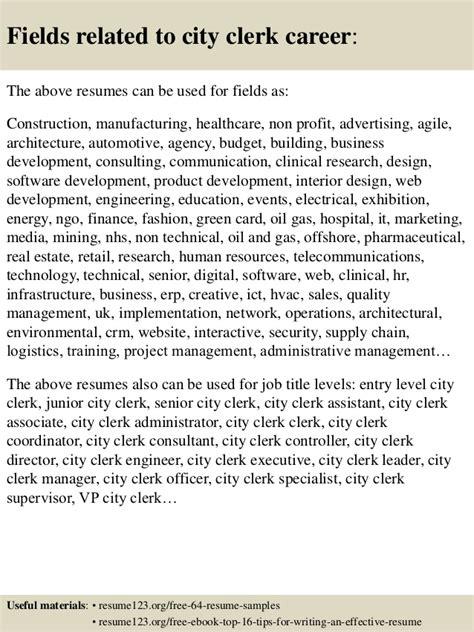 top 8 city clerk resume sles