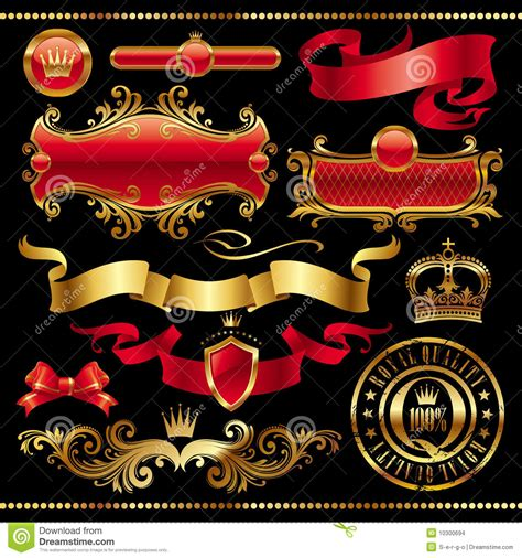 royal design elements vector set of golden royal design elements stock images image
