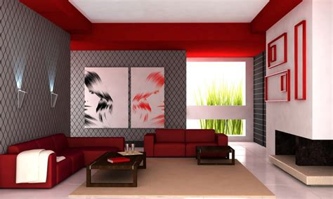 red livingroom living room interior design red wall sofa white lighting