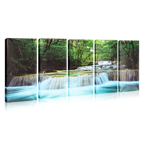 waterfall home decor 30x60cm 5pcs canvas painting forest waterfall wall art