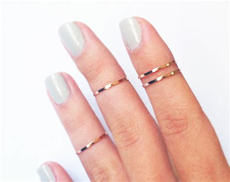 4 above the knuckle rings rose gold midi rings thin