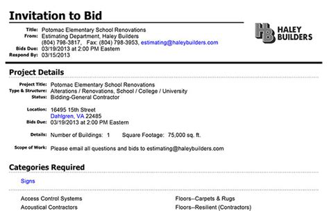 invitation to bid construction futureclim info