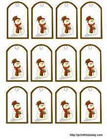 free printable snowman christmas gift tags