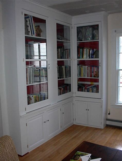 storage bookcase with doors furniture l shaped white stained mahogany wood
