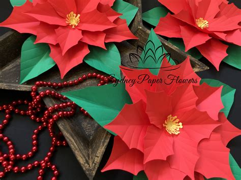 paper poinsettia flowers pattern files only poinsettia paper flower template with pdf svg