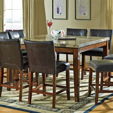 marble veneer dining table steve silver montibello transitional counter height marble