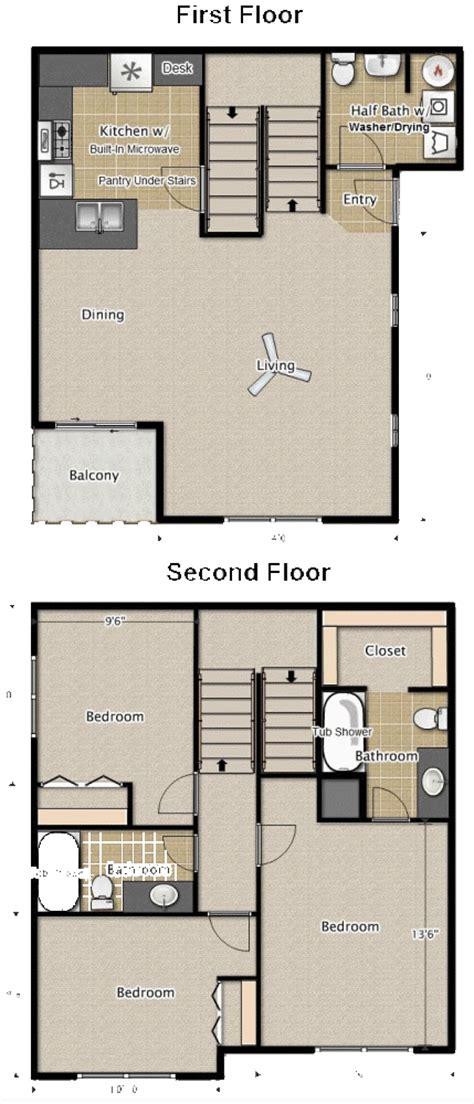 bedroom  bath townhouse apartment floor plans medford oregon
