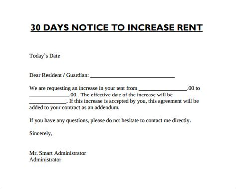 Rent Increase Letter Nsw Sle Rent Increase Notice 10 Free Documents In Pdf Word