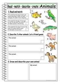 read match describe create animals 3 worksheet