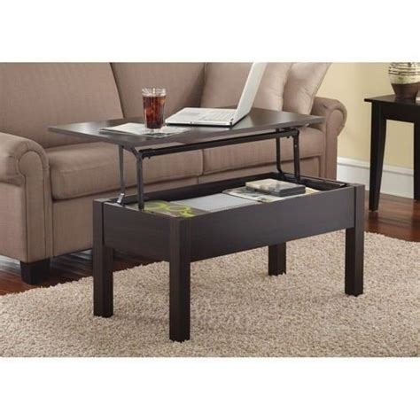 storage coffee table lift top brown espresso laptop tv
