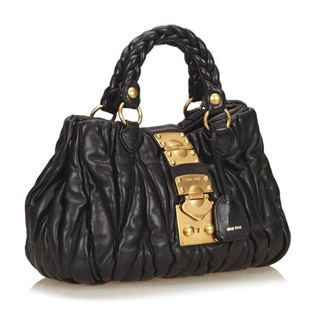 Bag Envy Miu Mius Patent Coffer Tote by Miu Miu Black Leather Coffer Shoulder Bag At 1stdibs