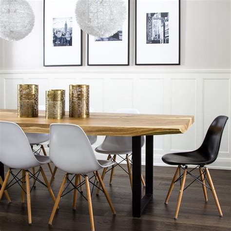 modern dining room tables chairs live edge dining table with eames molded plastic dining