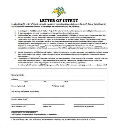 College Letter Intent Template Sle National Letter Of Intent 9 Free Documents In Pdf Word