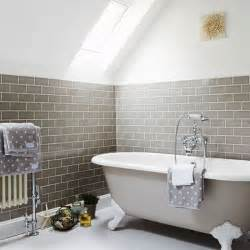 Grey bathroom with skylight and wall tiles grey bathroom ideas to