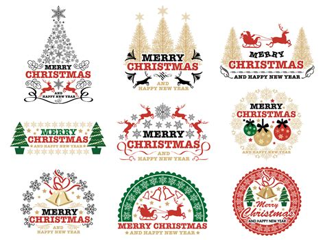 christmas badgelabel vector design element
