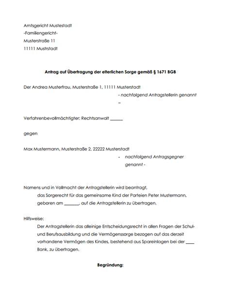 Vollmacht Schreiben Muster Jobcenter Antrag Auf 220 Bertragung Des Sorgerechts Hier Downloaden
