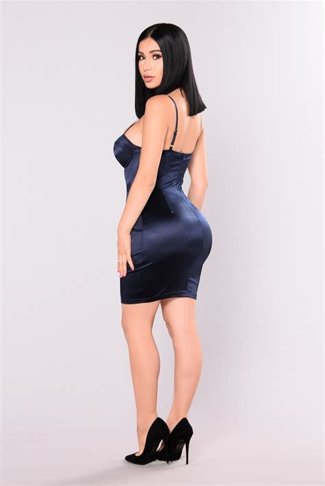 Dress Navy Fashion Wanita Dress Wanita gleam satin dress navy