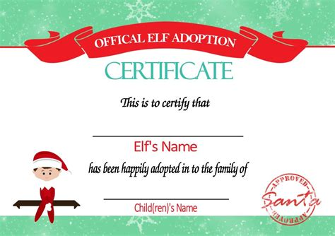 free printable elf adoption certificate personalised elf on the shelf adoption certificate