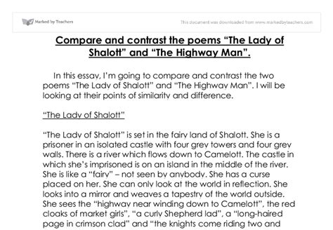 Compare Two Teachers Essay by Compare And Contrast The Poems The Of Shalott And The Highway Gcse Marked