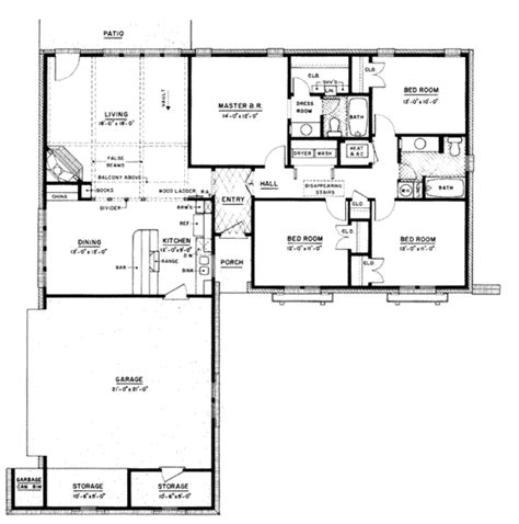 2 Car Garage With Loft by Ranch Style House Plan 4 Beds 2 Baths 1500 Sq Ft Plan