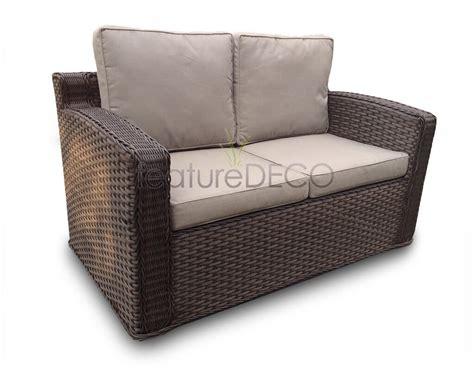 chelsea high back rattan garden furniture sofa set brown